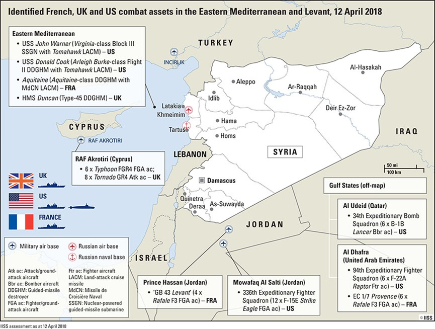 Syria strike: French, British and US combat assets